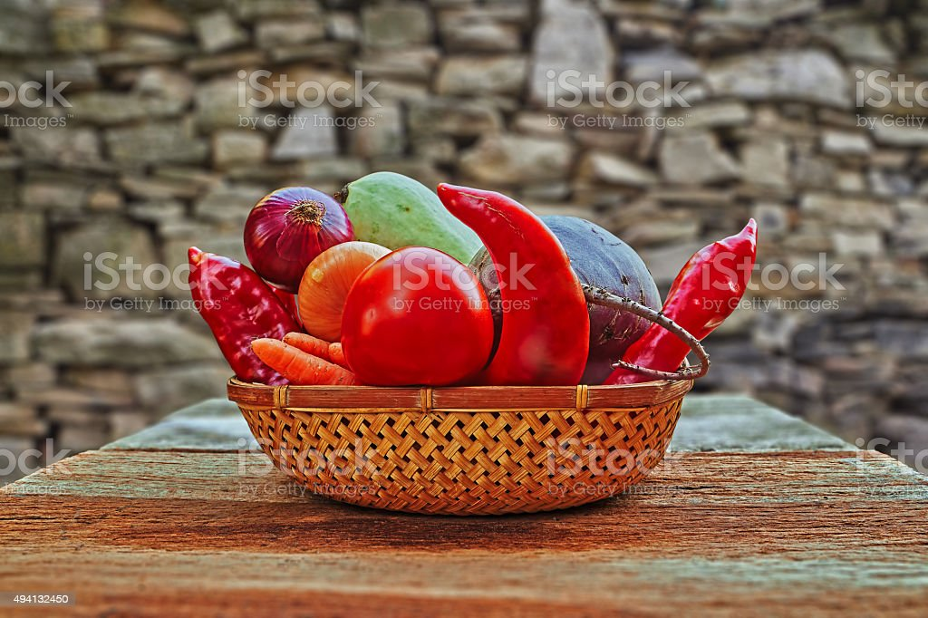 vegetables in a basket royalty-free stock photo