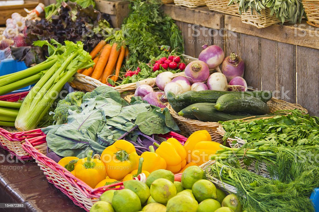 Vegetables in a market stock photo