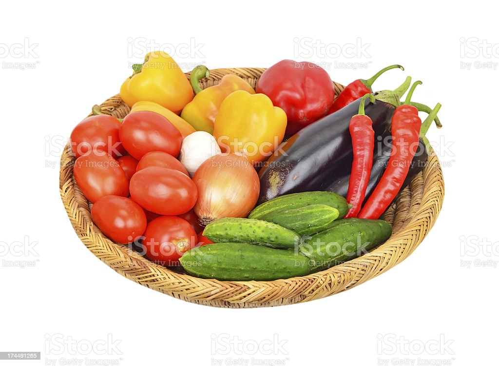 Vegetables in a wattled basket royalty-free stock photo