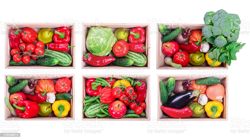 vegetables in boxes stock photo