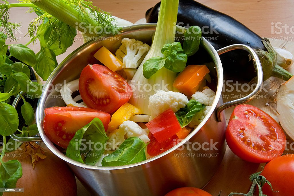 Vegetables in cooking pot royalty-free stock photo