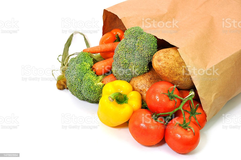 Vegetables in Grocery Bag stock photo