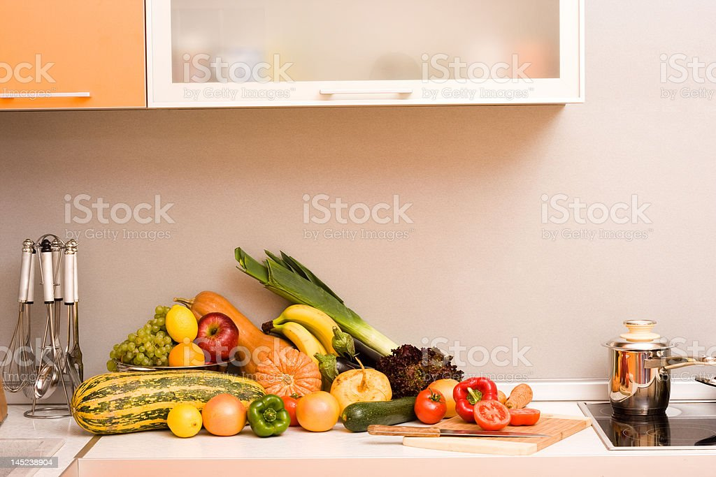 Vegetables in modern kitchen royalty-free stock photo