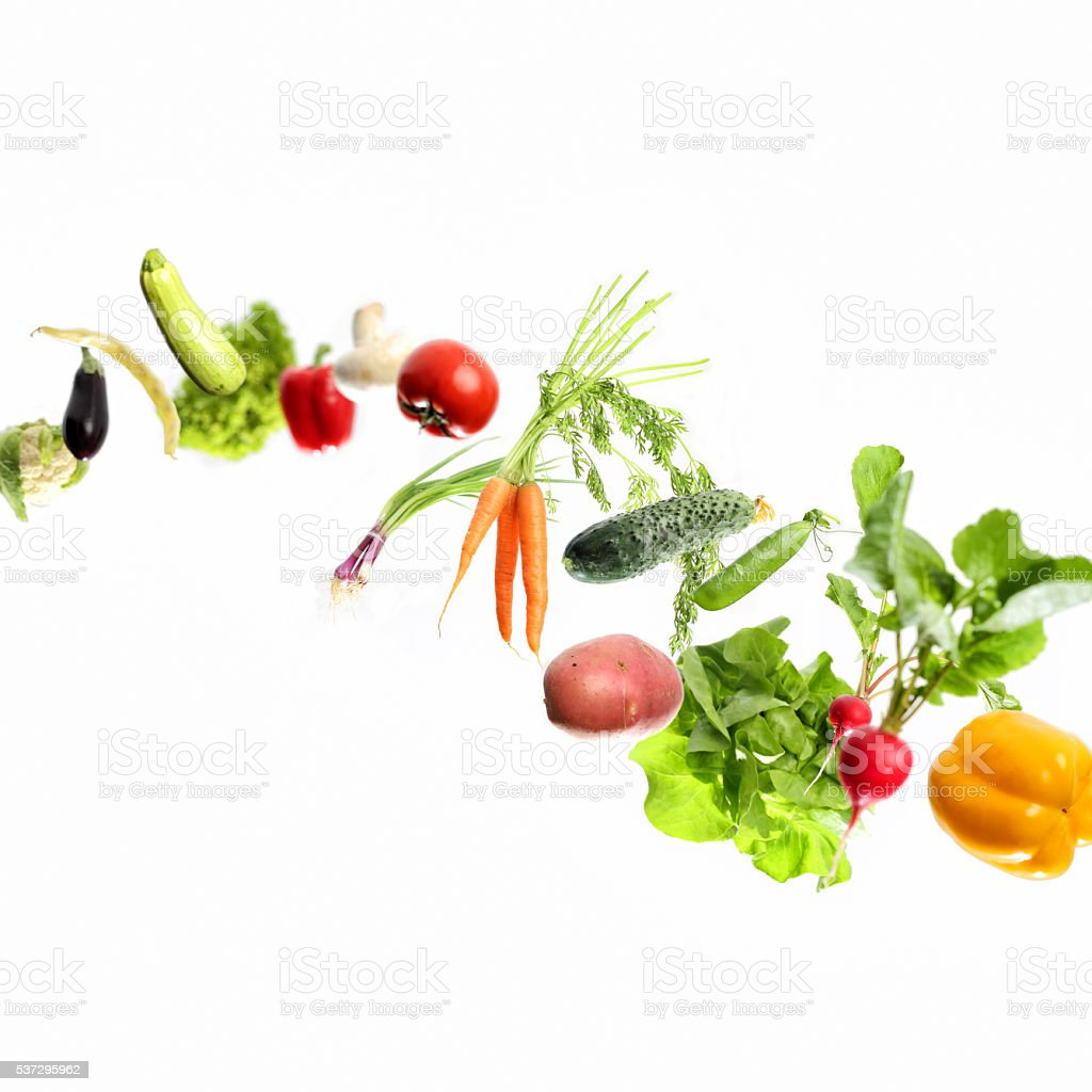 vegetables in motion stock photo