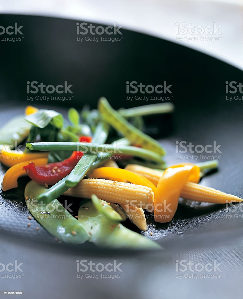 Vegetables in pan stock photo