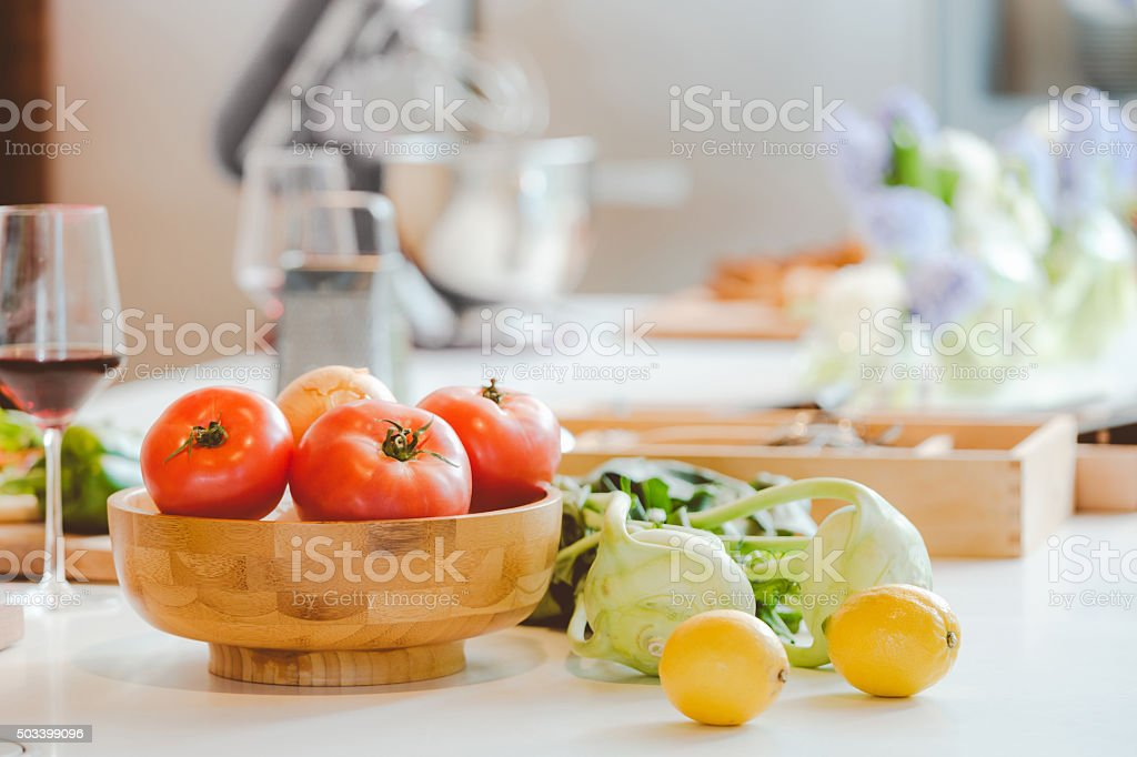 Vegetables in the kitchen stock photo