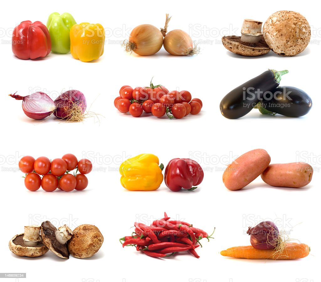 Vegetables isolated on white royalty-free stock photo