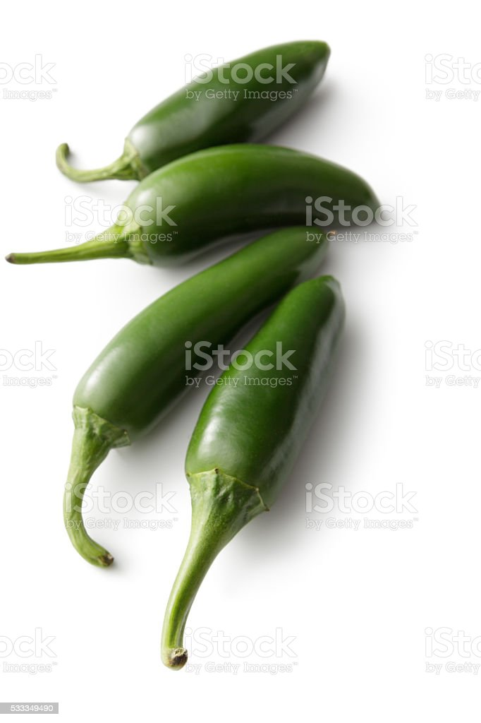 Vegetables: Jalapeno Peppers Isolated on White Background stock photo