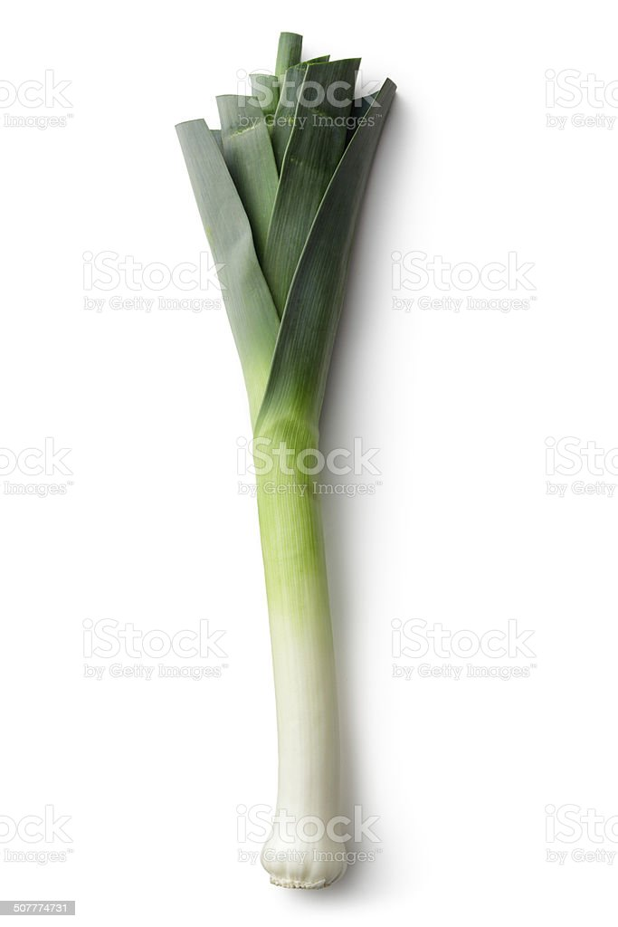 Vegetables: Leek Isolated on White Background stock photo