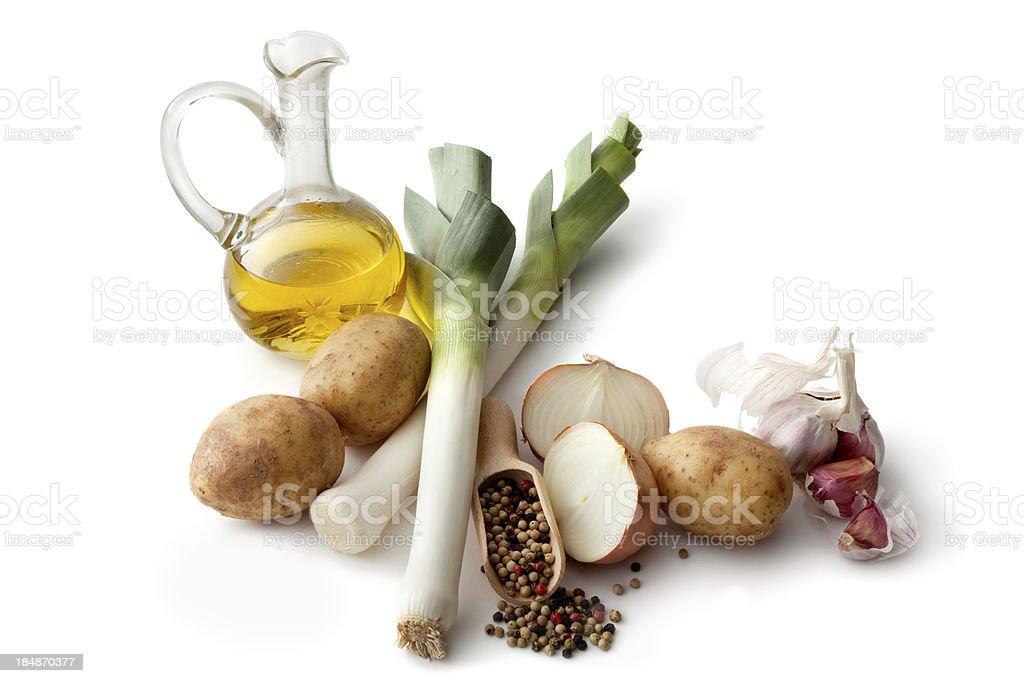 Vegetables: Leek, Potato, Onion, Garlic and Oil Isolated on White royalty-free stock photo
