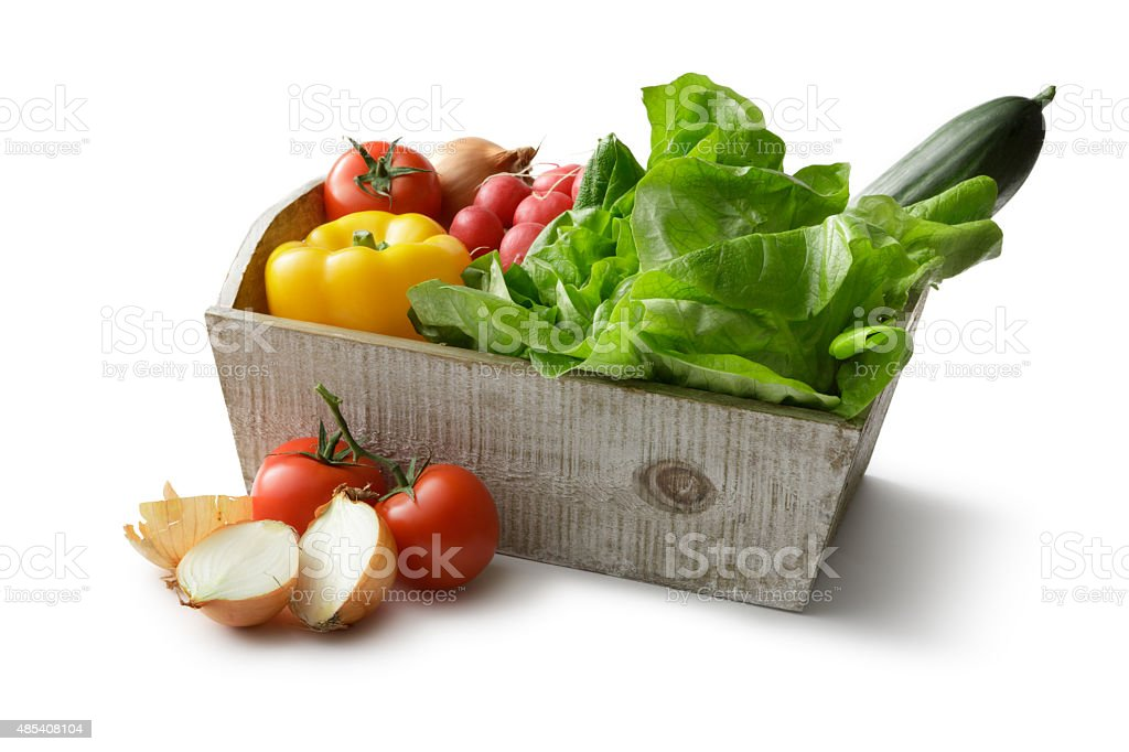 Vegetables: Lettuce, Bell Pepper, Tomato, Radish, Onion and Cucumber stock photo