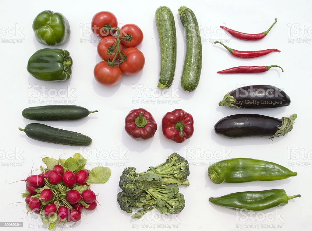 Vegetables lineup on white background royalty-free stock photo