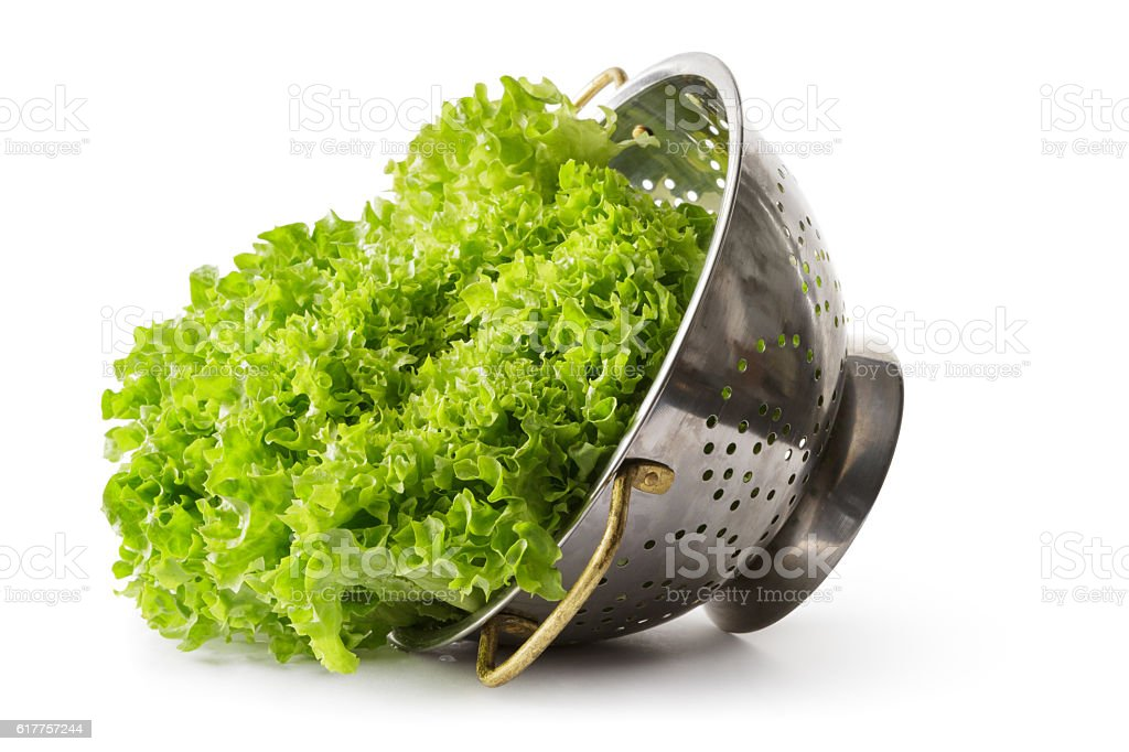 Vegetables: Lollo Bionda Lettuce Isolated on White Background stock photo
