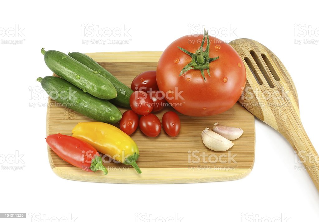 Vegetables On A Cutting Board royalty-free stock photo