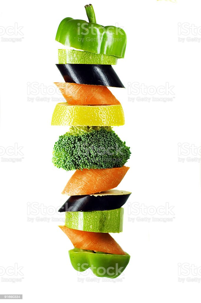 vegetables on a spit royalty-free stock photo