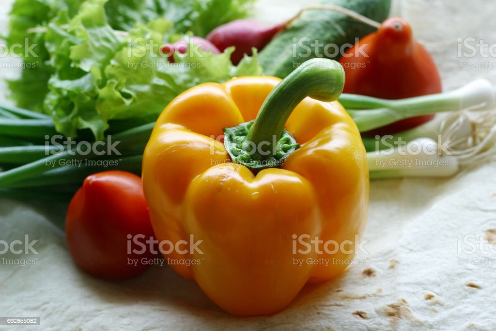 Vegetables on a unleavened wheat cake stock photo
