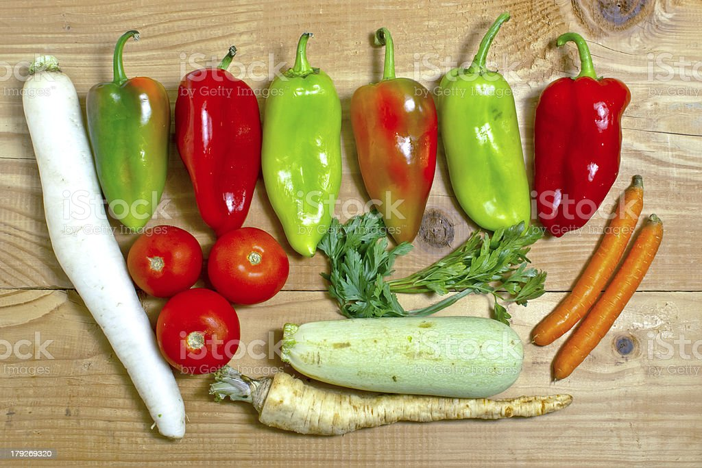 vegetables on a wooden background royalty-free stock photo