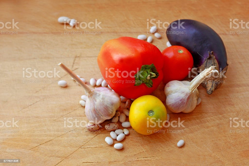Vegetables on a wooden surface. stock photo