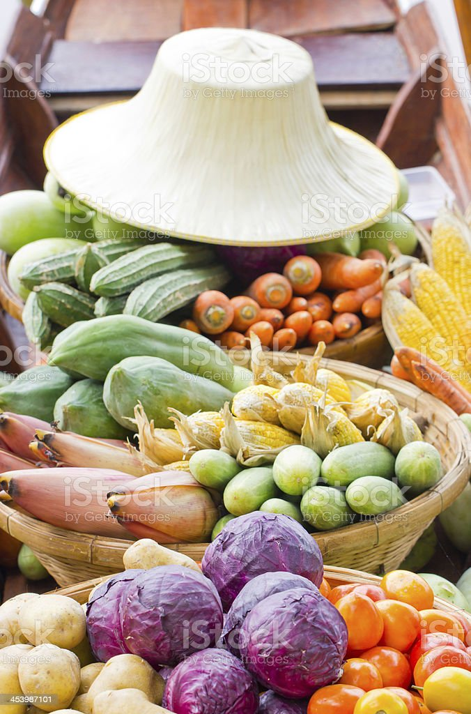 Vegetables on boat at the floating market. royalty-free stock photo