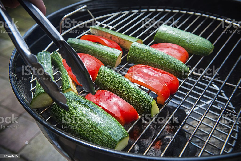 Vegetables on grill royalty-free stock photo