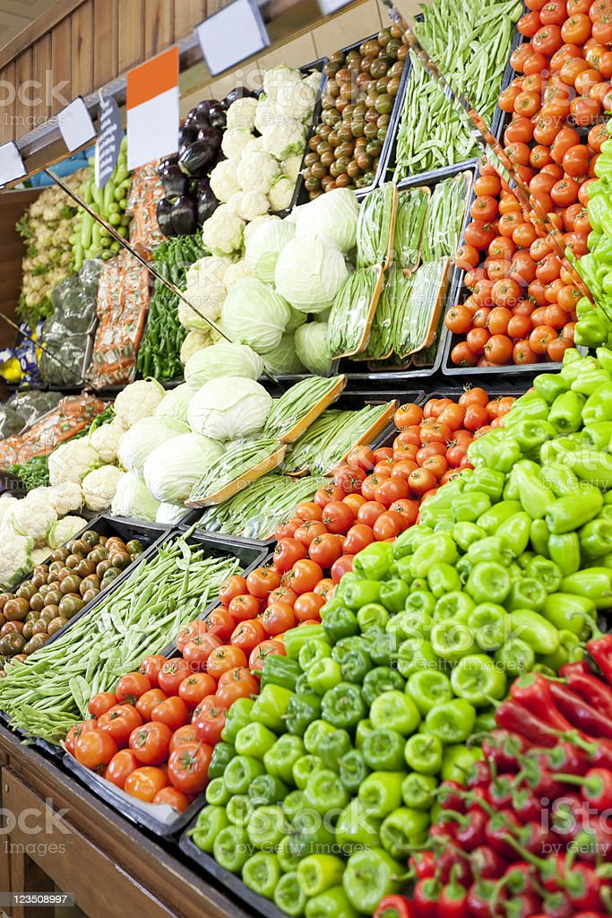 Vegetables on market display stock photo