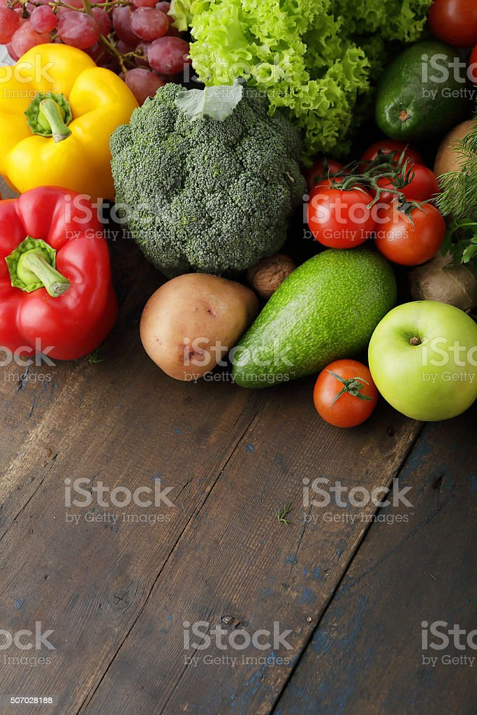 vegetables on old wooden background stock photo