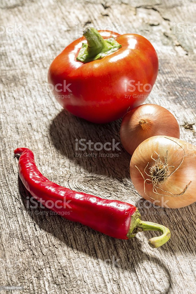Vegetables on rustic wooden background royalty-free stock photo