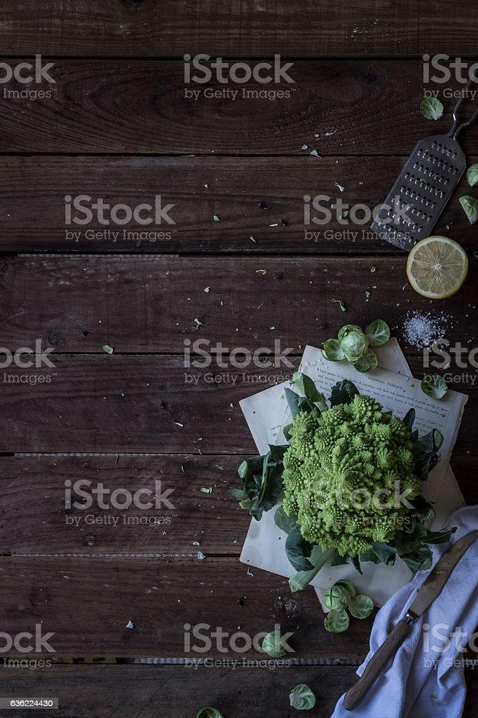 Vegetables on rustic wooden background stock photo