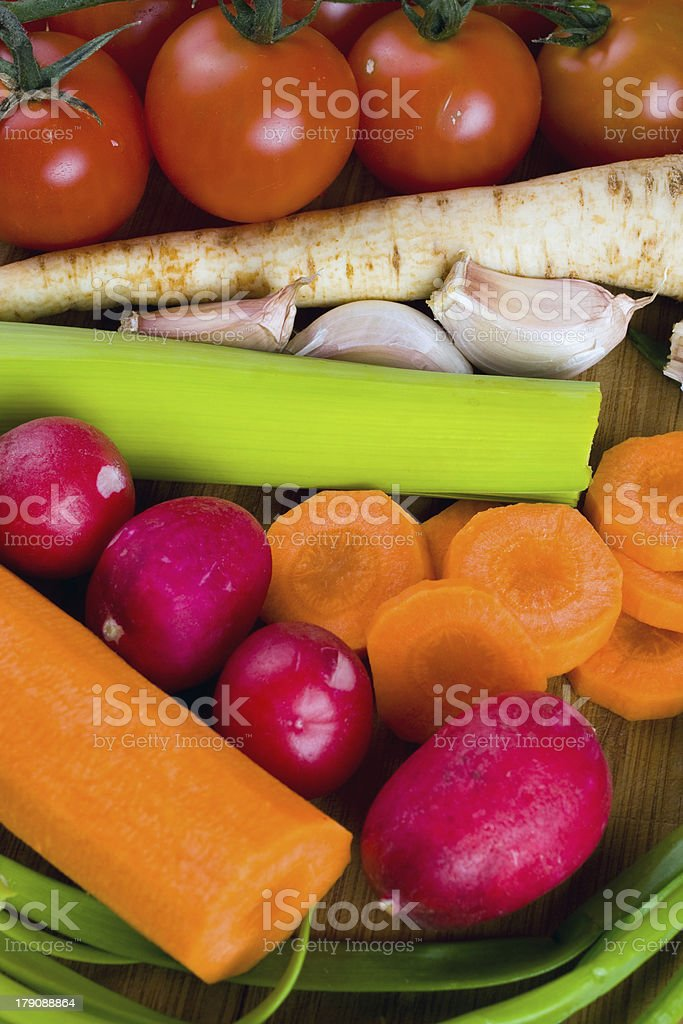 vegetables on the cutting board royalty-free stock photo