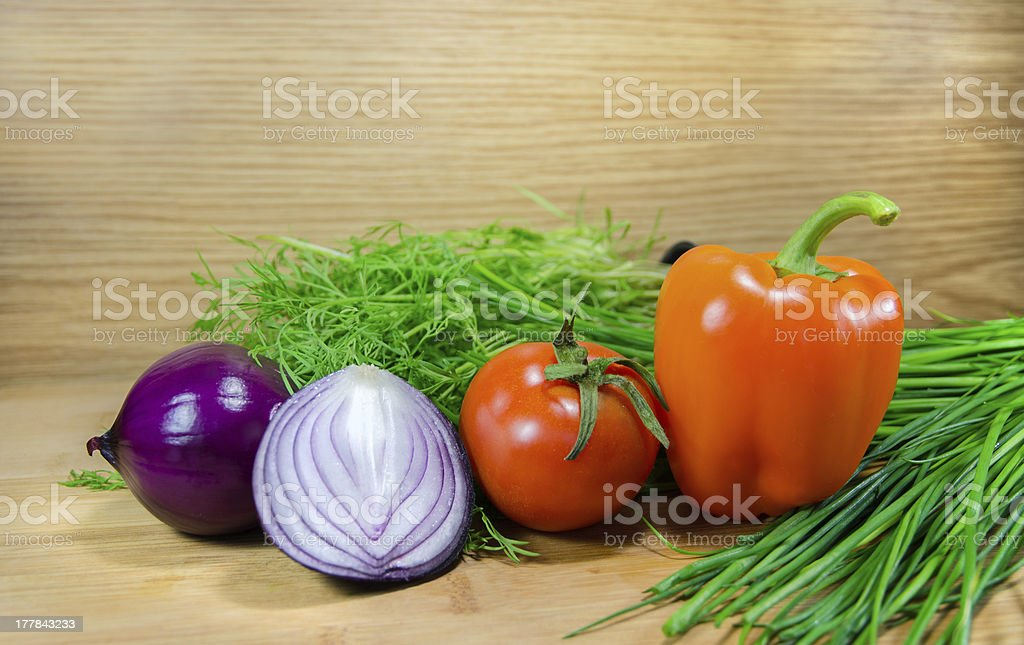 Vegetables on wood background royalty-free stock photo