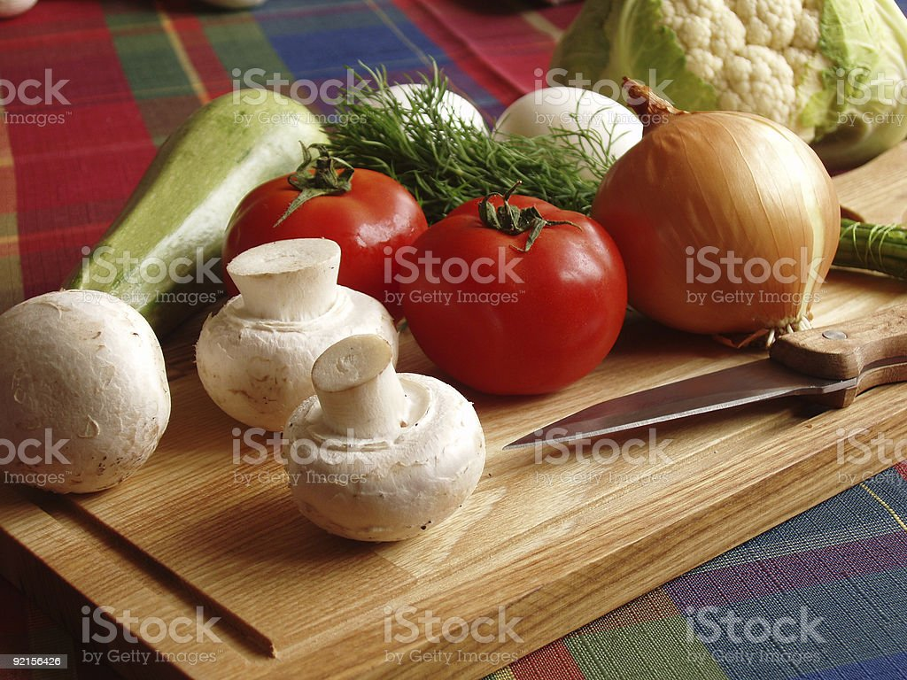 vegetables on wooden board royalty-free stock photo
