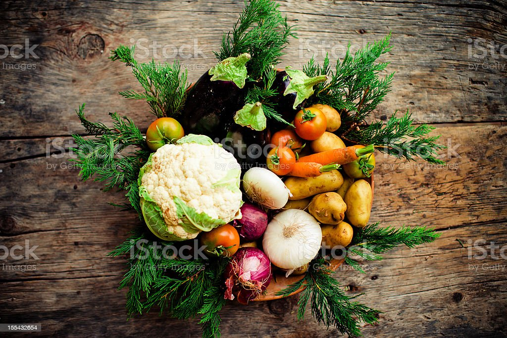 Vegetables on wooden table royalty-free stock photo