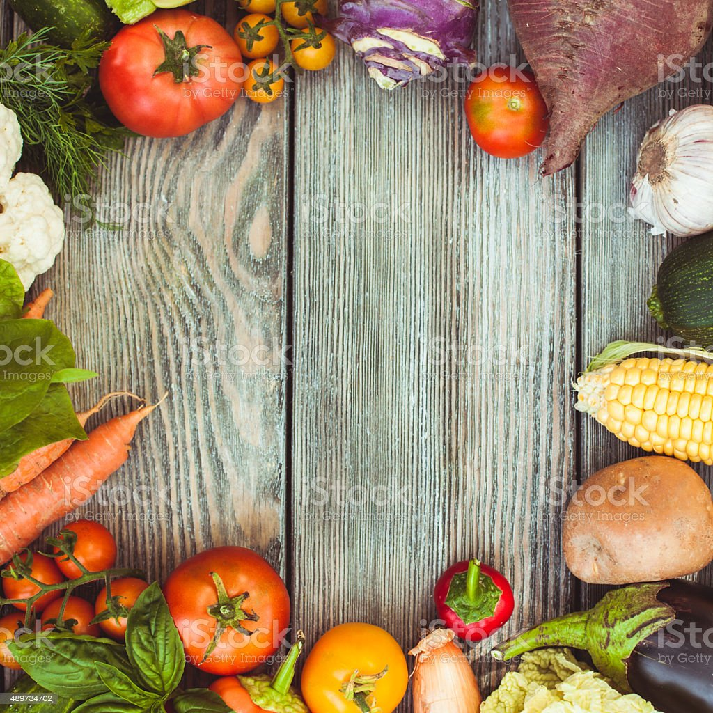 Vegetables on wooden table stock photo