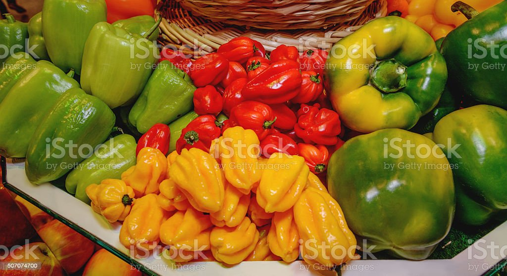 Vegetables, paprika, bell peppers of different varieties. Healthy eating stock photo