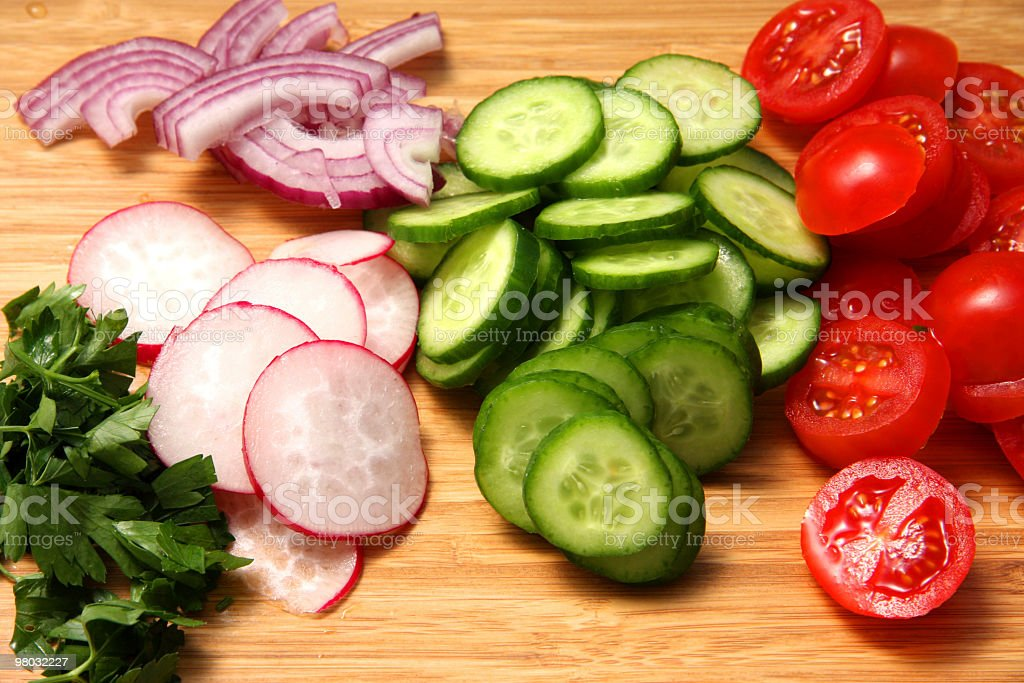 Vegetables prepared for salad royalty-free stock photo