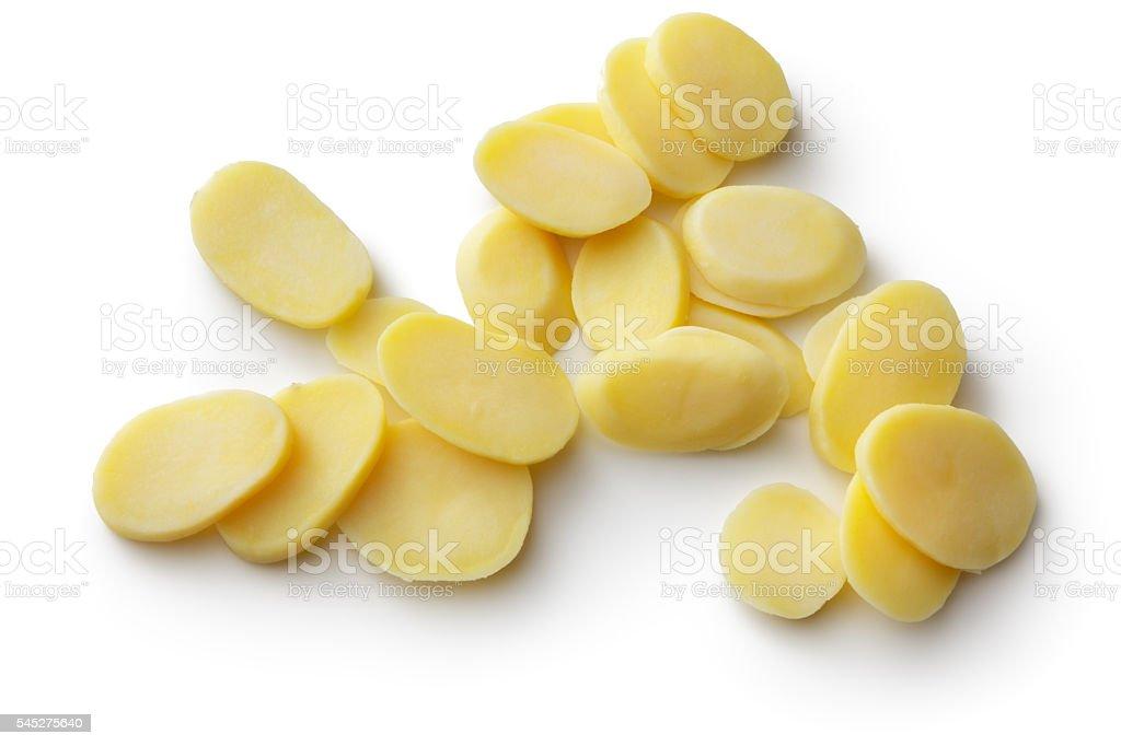 Vegetables: Raw Potato Slices Isolated on White Background stock photo