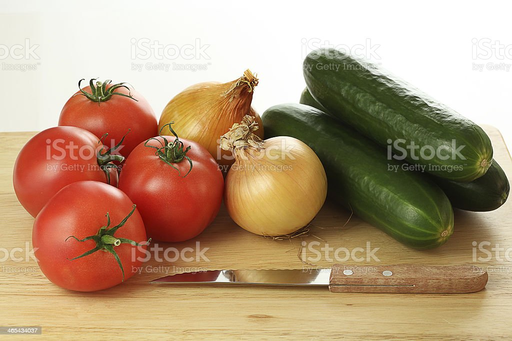 Vegetables ready to cut stock photo