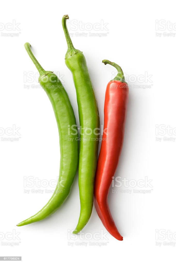 Vegetables: Red and Green Chili Peppers Isolated on White Background stock photo