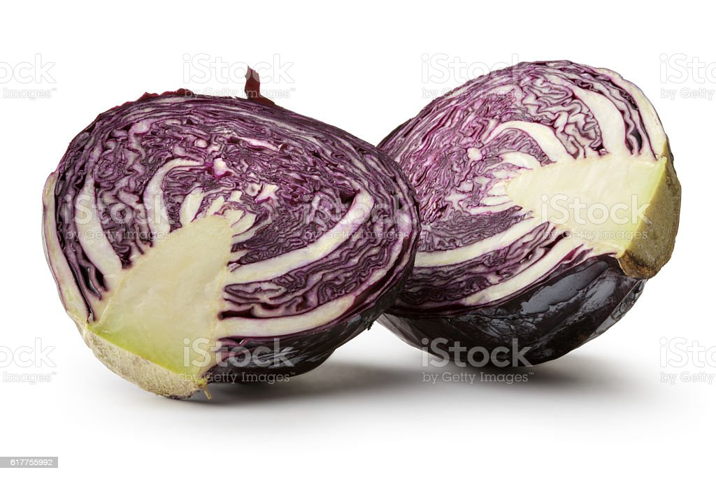 Vegetables: Red Cabbage Isolated on White Background stock photo