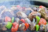 Vegetables skewer and lamb meatballs