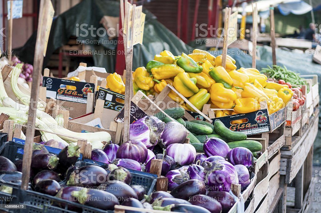 Vegetables sold in street market stall, Palermo stock photo