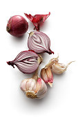 Vegetables: Spanish Onion and Garlic Isolated on White Background