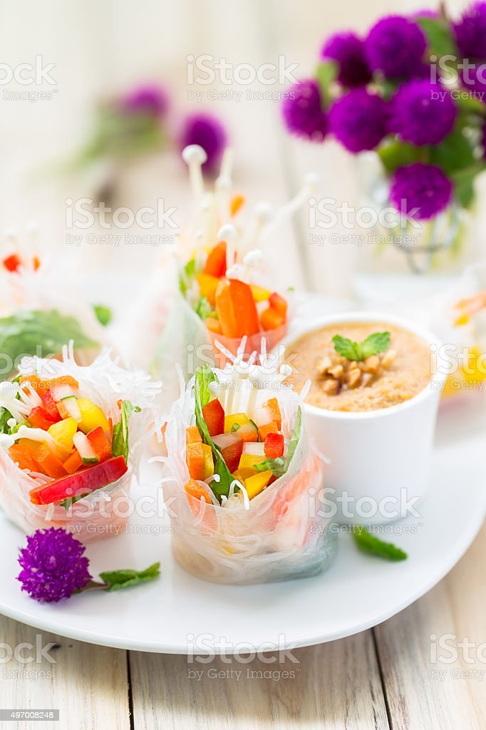 vegetables spring rolls stock photo