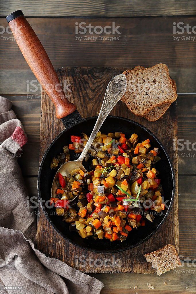 vegetables stewed in pan stock photo