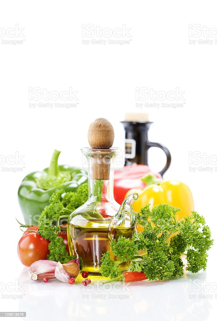 vegetables still life with olive oil royalty-free stock photo