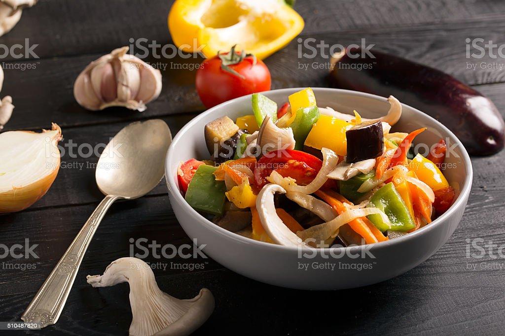 Vegetables stir fry stock photo