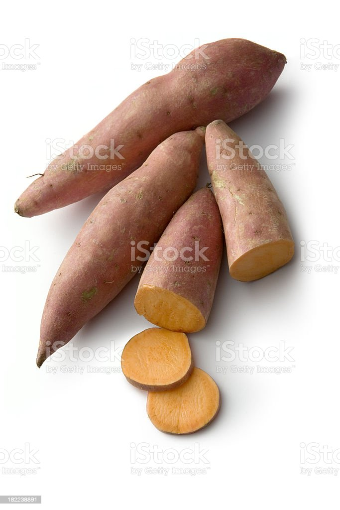 Vegetables: Sweet Potato Isolated on White Background stock photo