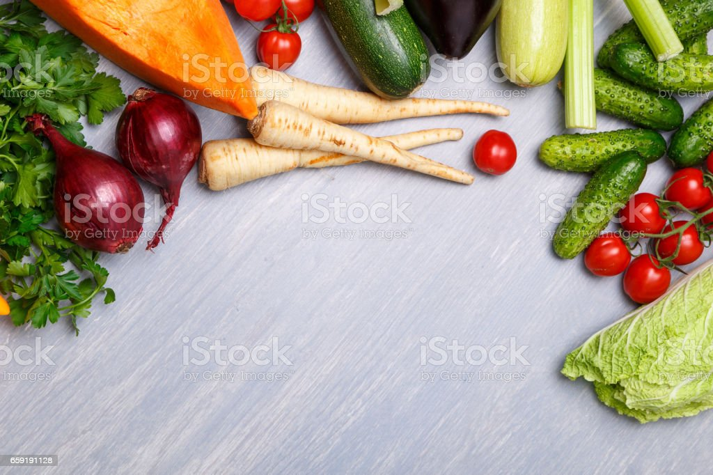 Vegetables. Tomato, Cucumber and parsley. stock photo
