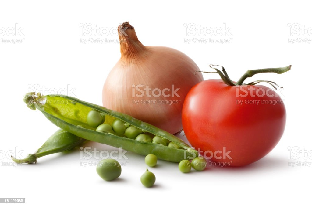 Vegetables: Tomato, Onion and Peas Isolated on White Background royalty-free stock photo
