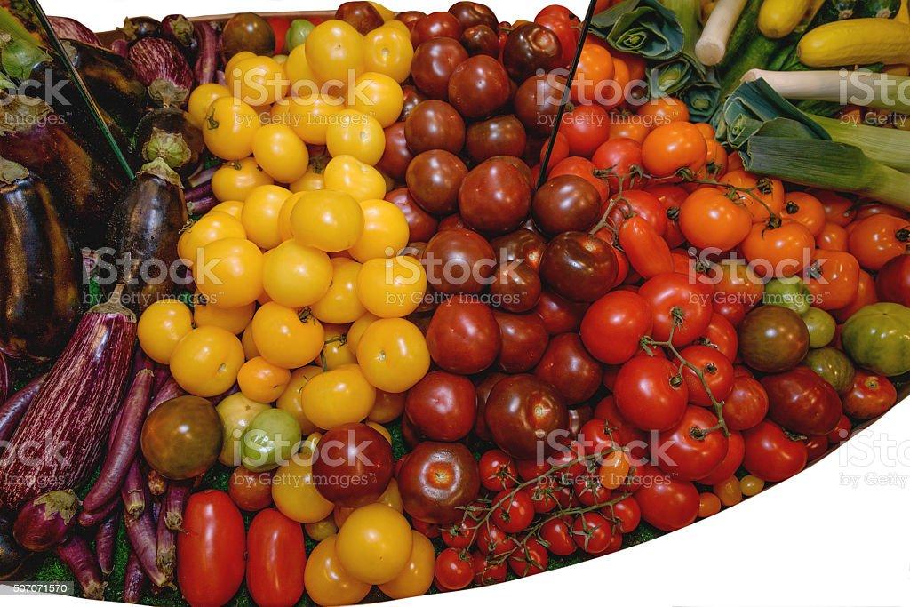 Vegetables, tomatoes of different varieties, eggplants, leek, redish stock photo